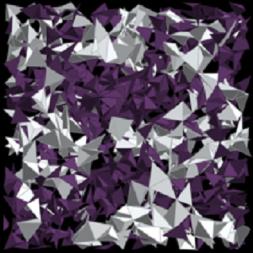 イオン伝導性ガラスの原子レベルのイメージ図